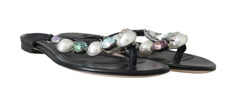 Black Leather Pearl Crystal Flip Flops