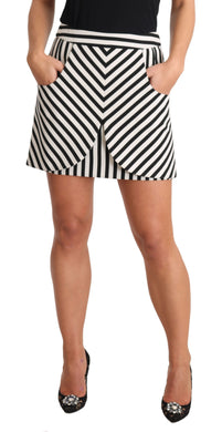 Black White Mid Waist A-Line Stripe Skirt
