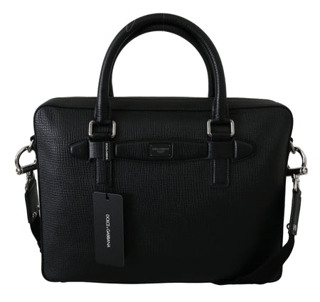 Black Laptop Travel Document Messenger Leather Bag