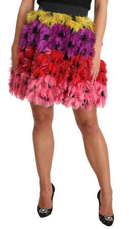 Multicolor Short Feathered A-Line Mini  Skirt