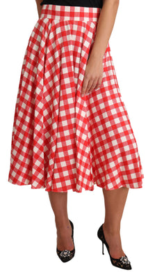 Red Checkered Silk Pleated Waist Midi Skirt