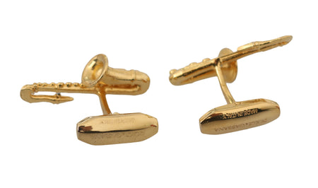 Gold Brass Music Saxophone Branded Accessory Cufflinks