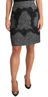 Gray Lace Acrylic Above Knee Pencil Skirt