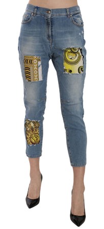 Blue Patched Cropped Skinny Fit Denim Pant
