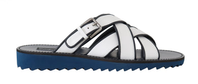 White Blue Leather Slides Sandals