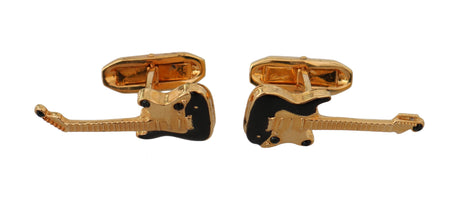 Gold Brass Music Guitar Branded Accessory Cufflinks
