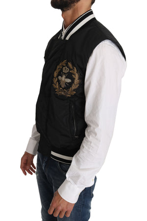Black Nylon Royal Crown Bee Logo Jacket