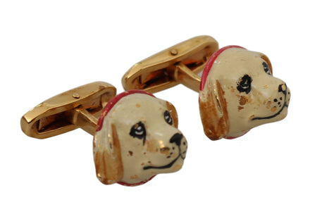 Gold Brass Dog Puppy Branded Accessory Cufflinks