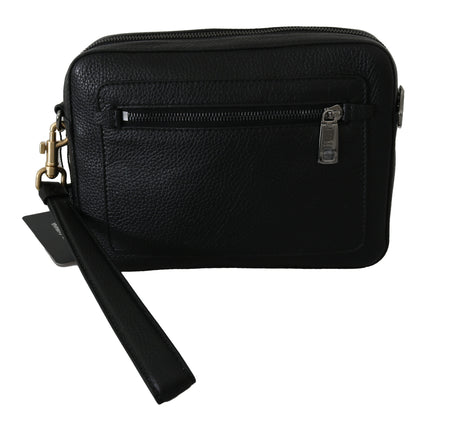 Black Mens Clutch Hand Purse Pouch Borse Leather Bag