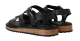 Black Leather Strap Crystal Sandals