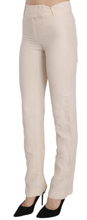 White High Waist Silk Blend Flared Dress Trousers Pants