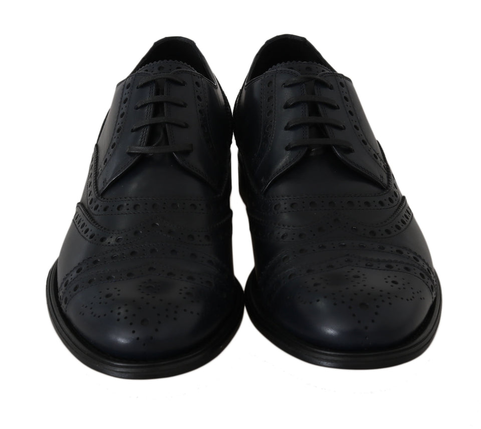 Blue Leather Wingtip Derby Formal Dress Shoes