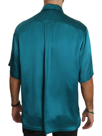 Blue Short Sleeve 100% Silk Top Shirt