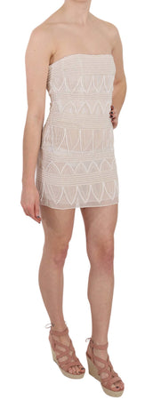 Beige Beaded Silk Short Mini Gown  Dress