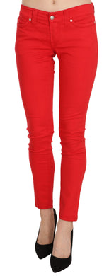 Red Low Waist Slim Fit Skinny Pants