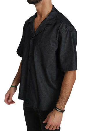 Black Short Sleeve Cotton Shirt