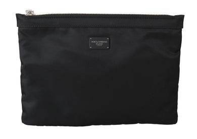 Black Mens Clutch Hand Purse Toiletry Pouch Nylon Bag