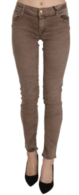 Brown Low Waist Slim Fit Skinny Pants