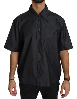 Black Short Sleeve Cotton Top Shirt