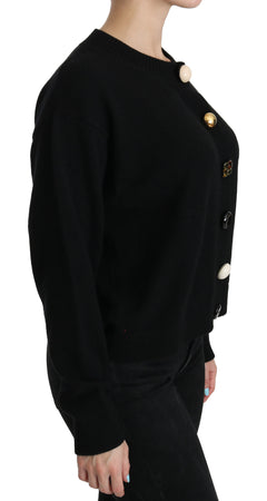 Black Button Embellished Cardigan Sweater