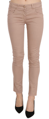 Brown Low Waist Slim Fit Skinny Cotton Pants