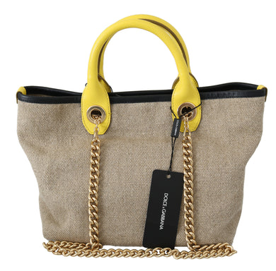 Beige Gold Chain Strap Shoulder Sling Purse Tote Bag