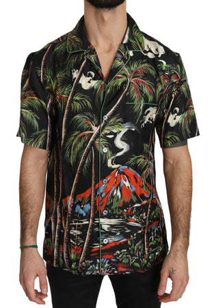 multicolor Shortsleeve Silk Jungle Volcano Shirt