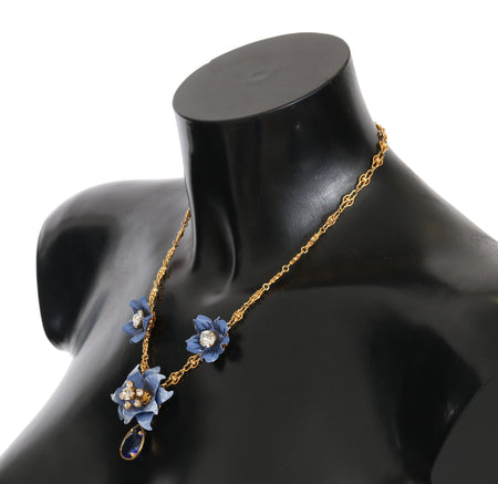 Gold Chain Blue Crystal Flower Statement Necklace
