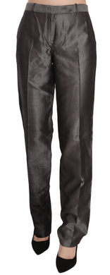 Black Mid Waist Straight Cut Trousers Pants