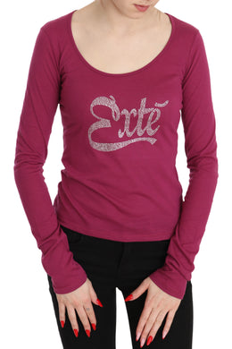Pink Exte Crystal Embellished Long Sleeve Top