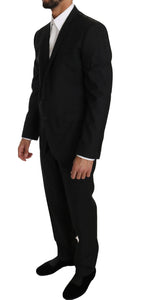 Black Wool Silk 2 Piece Slim Fit Suit