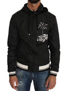 Black Hooded Palm Car Windbreaker Jacket