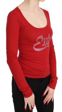 Red Exte Crystal Embellished Long Sleeve Top Blouse