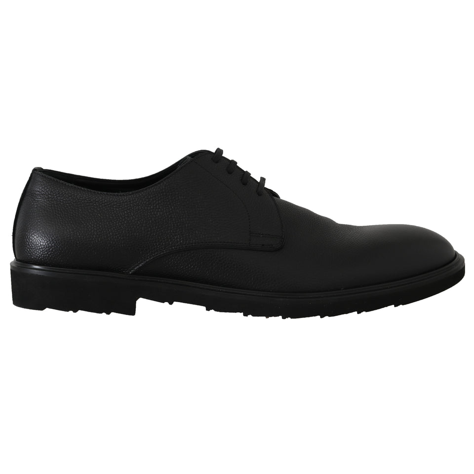 Black Leather Laceups Derby Laceups Shoes