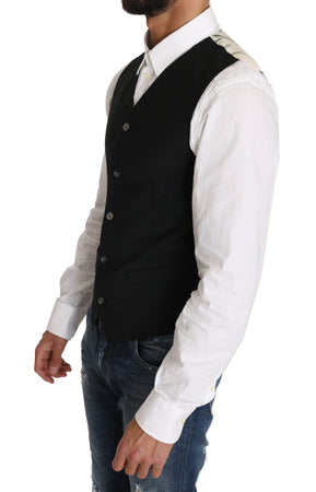 Black Wool Blend Dress Vest waistcoat