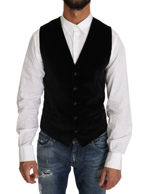 Black Wool Cotton Blend Dress Vest Blazer