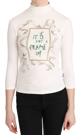 White Printed Turtle Neck 3/4 Sleeve Casual Top Blouse