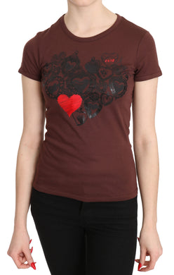 Brown Hearts Printed Round Neck T-shirt Top