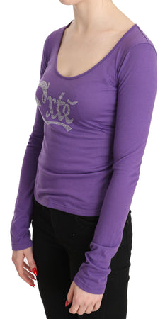 Purple Exte Crystal Embellished Long Sleeve Top Blouse