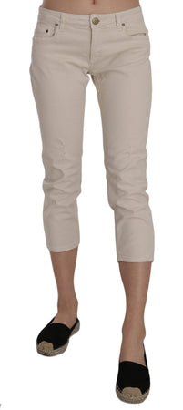 Beige Cotton Stretch Low Waist Skinny Cropped Capri Jeans
