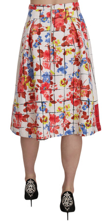 Floral Print Lined Multicolor Flared Midi