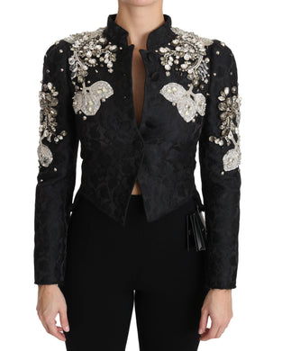 Black Jacquard Crystal Floral Jacket