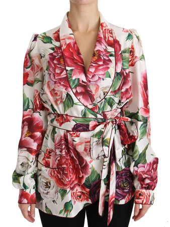 White Floral Sleepwear Blouse Top Robe