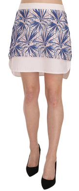 Cotton-Blend Lace Knit Multicolor Mini Skirt