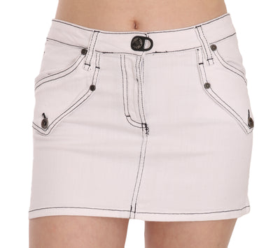 White Cotton Stretch Casual Mini Skirt