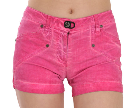 Pink Mid Waist Cotton Denim Mini Shorts