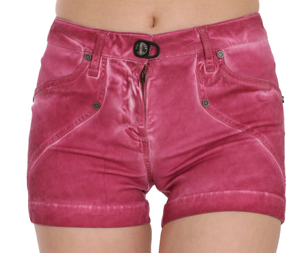 Pink Mid Waist Cotton Mini Denim Shorts