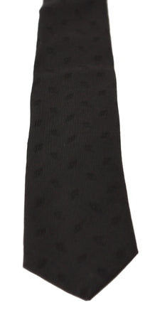 Black 100% Silk Diamond Print Classic Necktie