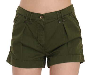 Green Mid Waist 100% Cotton Mini Shorts