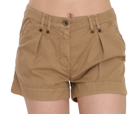 Brown Mid Waist 100% Cotton Mini Shorts